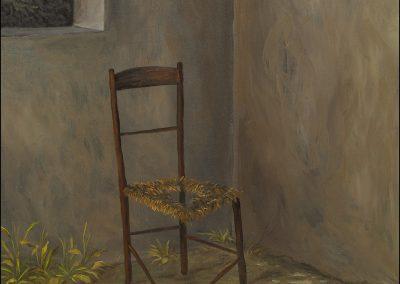 E-2016-Sedia esausta-olio su tavola cm38,5x33,5