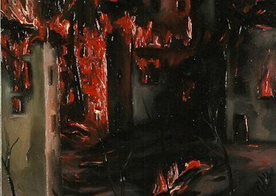 Città in fiamme 1996 – olio su tela – 40×30 cm